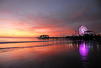 The sun sets at Santa Monica Beach on Saturday, February 5, 2011.