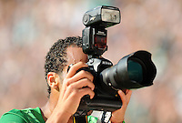 FUSSBALL   1. BUNDESLIGA   SAISON 2011/2012    3. SPIELTAG SV Werder Bremen - SC Freiburg                             20.08.2011 WESLEY (SV Werder Bremen) fotografiert nach seinem Tor zum 5:3 mit einer Kamera von Pressefoto ULMER seinen jubelnden Mitspieler Marko Arnautovic (Foto von WESLEY folgt).
