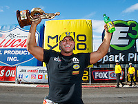 Feb 26, 2017; Chandler, AZ, USA; NHRA pro stock driver Matt Hagan celebrates after winning the Arizona Nationals at Wild Horse Pass Motorsports Park. Mandatory Credit: Mark J. Rebilas-USA TODAY Sports