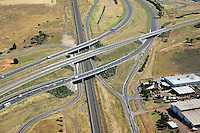 Aerial view of highway overpass.<br />