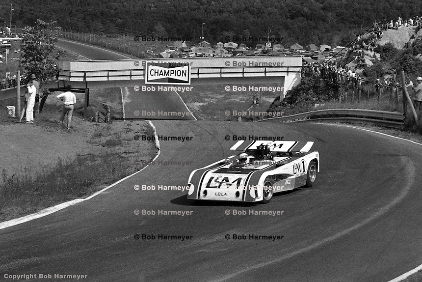 Jackie Stewart drives the 1971 L&M Lola Chevrolet Can-Am car at Le Circuit Mont Tremblant/St. Jovite, Quebec, Canada..