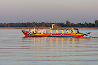 Myanmar, Burma, near Bagan.  Passenger Boat on the Ayeyarwady River, Late Afternoon.