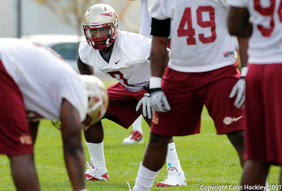 TALLAHASSEE, FLA. 03/21/11-FSU032111 CH-Florida State linebacker Christian Jones lines up during practice Monday in Tallahassee..COLIN HACKLEY PHOTO