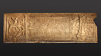 The Bridgeness Stone, or Bridgeness Distance Slab, a Roman carved stone with inscription recording the section of the Antonine Wall (built across the width of Scotland) built by the Second Augustan Legion, found in 1868, at the Tullie House Museum and Art Gallery, Carlisle, Cumbria, England. The end panels are Roman propaganda commemorating their triumph over the Caledonians. The left end is the conventional image of the mounted Roman riding over the barbarians. The right end shows a sacrifice by the legion to the Roman gods for their victory. This is a copy of the original stone, which is in the National Museum of Antiquities of Scotland. Carlisle sits at the Western end of Hadrian's Wall. Hadrian's Wall was built 73 miles across Britannia, now England, 122-128 AD, under the reign of Emperor Hadrian, ruled 117-138, to mark the Northern extent of the Roman Empire and guard against barbarian attacks from the Picts to the North. The wall was fortified with milecastles with 2 turrets in between, and a fort about every 5 Roman miles. Picture by Manuel Cohen