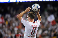 Jan Gunnar Solli (8) of the New York Red Bulls on a throw in. The New York Red Bulls defeated Toronto FC 5-0 during a Major League Soccer (MLS) match at Red Bull Arena in Harrison, NJ, on July 06, 2011.