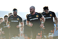Jack Yeandle leads the Exeter Chiefs team during the pre-match warm-up. European Rugby Champions Cup match, between Exeter Chiefs and the Ospreys on January 24, 2016 at Sandy Park in Exeter, England. Photo by: Patrick Khachfe / JMP