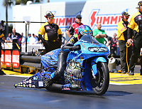 Mar 17, 2017; Gainesville , FL, USA; NHRA pro stock motorcycle rider L.E. Tonglet during qualifying for the Gatornationals at Gainesville Raceway. Mandatory Credit: Mark J. Rebilas-USA TODAY Sports