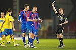 Inverness Caley Thistle v St Johnstone....28.03.12   SPL.Ross Tokely shows his frustrations as he is booked by Willie Collum.Picture by Graeme Hart..Copyright Perthshire Picture Agency.Tel: 01738 623350  Mobile: 07990 594431