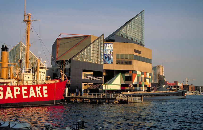 Baltimore MD's Inner Harbor with the floating museum ships Chesapeake and submarine USS Torsk next to the Baltimore Aquarium. Baltimore Maryland USA.