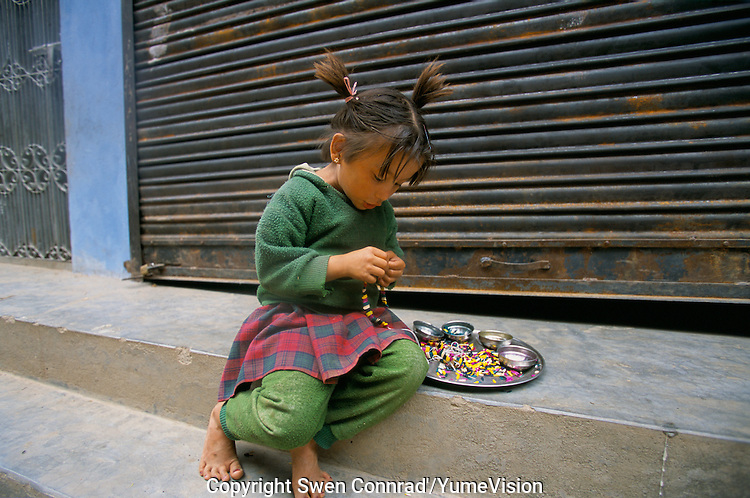 A Children during the Brother day festival in Sulichour, Rolpa District, Nepal