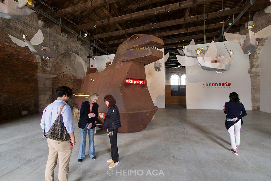 56th Art Biennale in Venice - All The World's Futures.<br /> Arsenale.<br /> Indonesia pavilion.<br /> Heri Dono, &quot;Voyage Trokomod&quot;, 2015.