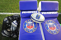 A general view of Bath Rugby tackle shields and matchday balls. European Rugby Champions Cup match, between Bath Rugby and Leinster Rugby on November 21, 2015 at the Recreation Ground in Bath, England. Photo by: Patrick Khachfe / Onside Images