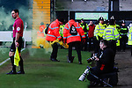 Notts County 0 Mansfield Town 0, 14/01/2017. Meadow Lane, League Two. Stewards deal with a flare from the Mansfield fans. Photo by Paul Thompson.
