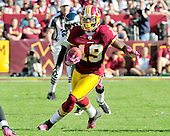 Washington Redskins wide receiver Donte Stallworth (19) carries the ball after making a short reception in the fourth quarter against the Philadelphia Eagles at FedEx Field in Landover, Maryland on Sunday, October 16, 2011.  The Eagles won the game 20 - 13..Credit: Ron Sachs / CNP