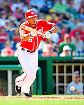 29 August 2010: Washington Nationals infielder Ian Desmond lays down a surprise bunt single against the St. Louis Cardinals at Nationals Park in Washington, DC. The Nationals defeated the Cards 4-2 to take the final game of their 4-game series. Mandatory Credit: Ed Wolfstein Photo