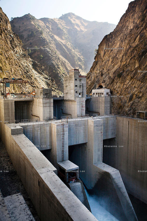 The front of the newly-built NHPC hydroelectric dam, Chamera III, on the narrow upper River Ravi in Chamba valley, Himachal Pradesh, India, on 22nd March, 2012. Photo by Suzanne Lee/CapaPictures for ALSTOM Hydro.