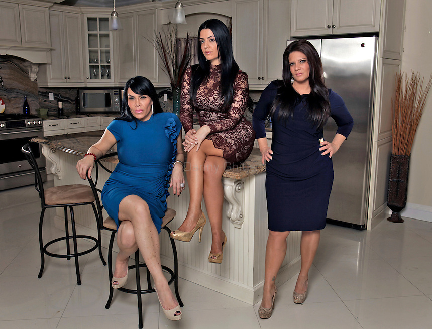 Cast members of the VH1 reality show Mob Wives pose for a portrait at the home of Renee Graziano on Staten Island. From left, Renee Graziano, Ramona Rizzo, and Karen Gravano..Danny Ghitis for The New York Times