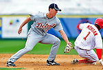 9 March 2010: Detroit Tigers' infielder Brent Dlugach is unable to tag Nyjer Morgan as Morgan steals second during a Spring Training game against the Washington Nationals at Space Coast Stadium in Viera, Florida. The Tigers defeated the Nationals 9-4 in Grapefruit League action. Mandatory Credit: Ed Wolfstein Photo