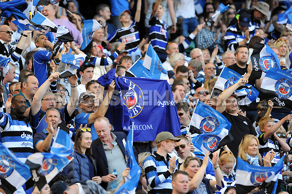 Bath Rugby supporters celebrate a try. The Clash, Aviva Premiership match, between Bath Rugby and Leicester Tigers on April 8, 2017 at Twickenham Stadium in London, England. Photo by: Rob Munro / Onside Images