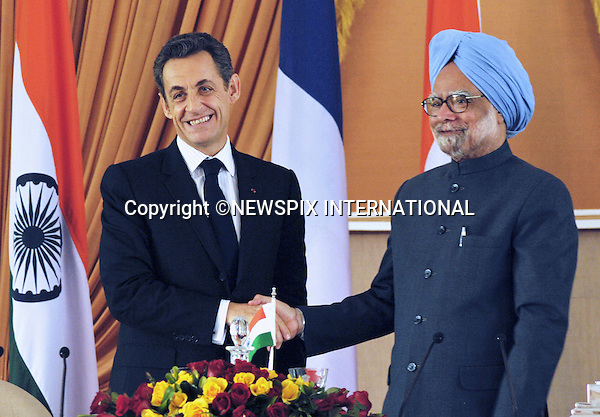 """PRESIDENT NICOLAS SARKOZY VISITS INDIA.President Nicolas Sarkozy of France and Primme Minister Dr. Manmohan Singh sign Nuclear Agreement, New Delhi_06/12/2010..Photo Credit: ©Meena_Newspix International..**ALL FEES PAYABLE TO: """"NEWSPIX INTERNATIONAL""""**..PHOTO CREDIT MANDATORY!!: NEWSPIX INTERNATIONAL..IMMEDIATE CONFIRMATION OF USAGE REQUIRED:.Newspix International, 31 Chinnery Hill, Bishop's Stortford, ENGLAND CM23 3PS.Tel:+441279 324672  ; Fax: +441279656877.Mobile:  0777568 1153.e-mail: info@newspixinternational.co.uk."""