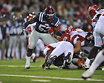Ole Miss defensive end Jason Jones (53) looks at a Louisiana-Lafayette fumble in Oxford, Miss. on Saturday, November 6, 2010. Ole Miss won 43-21.