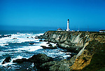 California: Mendocino Coast.  Point Arena Lighthouse..Photo copyright Lee Foster, 510/549-2202, lee@fostertravel.com, www.fostertravel.com..Photo #: caday2105