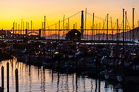United States, California, San Francisco. Fort Mason, Golden Gate bridge in the background.