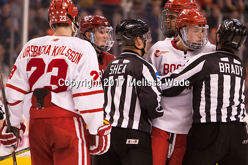 Jakob Forsbacka Karlsson (BU - 23), Adam Fox (Harvard - 18), Jordan Greenway (BU - 18), Charlie McAvoy (BU - 7) - The Harvard University Crimson defeated the Boston University Terriers 6-3 (EN) to win the 2017 Beanpot on Monday, February 13, 2017, at TD Garden in Boston, Massachusetts.