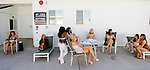 Moonlite Bunny Ranch brothel sex workers wait for their weekly, mandatory, medical exam in Mound House, NV on Thursday, July 27, 2006...The Moonlite Bunny Ranch brothel in Mound House, Nevada - just a few miles from the state capital in Carson City - first opened in 1955. The Ranch is a legal, licensed brothel owned by Dennis Hof. It's featured in the HBO series &quot;Cathouse.&quot;