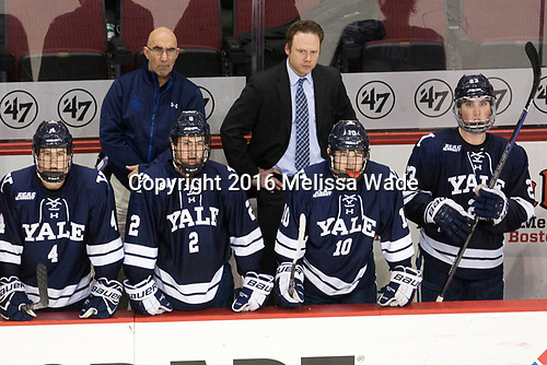 Matt Foley (Yale - 4), Rich Kaplan (Yale - Athletic Trainer), Adam Larkin (Yale - 2), Josh Siembida (Yale - Assistant Coach), Chandler Lindstrand (Yale - 10), Charlie Curti (Yale - 23) The Boston University Terriers defeated the visiting Yale University Bulldogs 5-2 on Tuesday, December 13, 2016, at the Agganis Arena in Boston, Massachusetts.
