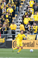 Mar 26, 2011; Columbus, OH, USA; Columbus Crew defender Sebastian Miranda (21) plays the ball out of the defensive end in front of the Nordecke supporters' section against the New York Red Bulls during their match at Columbus Crew Stadium. The game finished in a 0-0 tie.