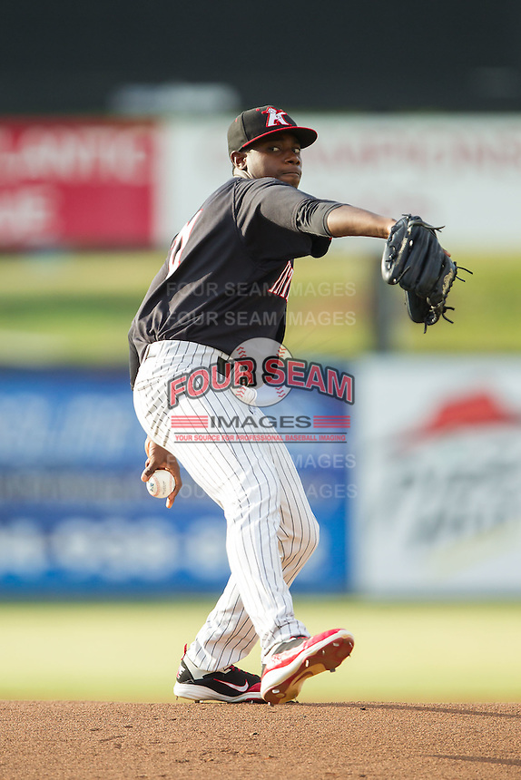 Kannapolis Intimidators starting pitcher Andre Wheeler (31) in action against the Delmarva Shorebirds at CMC-NorthEast Stadium on July 1, 2014 in Kannapolis, North Carolina.  The Intimidators defeated the Shorebirds 5-2. (Brian Westerholt/Four Seam Images)