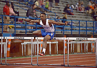 NWA Democrat-Gazette/BEN GOFF @NWABENGOFF<br /> Darnell Washington of Conway runs to victory with a time of 39.33 seconds in the boys 200 meter hurdles Thursday, April 20, 2017, during the McDonald Relays at Fort Smith Southside.