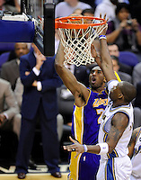 Kobe Bryant of the Lakers goes up for a basket against Wizards' Brendan Haywood. Los Angeles defeated Washington 115-103 at the Verizon Center in Washington, DC on Tuesday, January 26, 2010.  Alan P. Santos/DC Sports Box