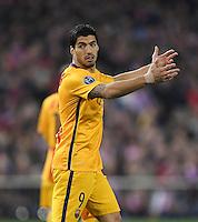 FUSSBALL CHAMPIONS LEAGUE  SAISON 2015/2016 VIERTELFINAL RUECKSPIEL Atletico Madrid - FC Barcelona       13.04.2016 Luis Suarez (Barca) enttaeuscht