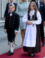 TRONDHEIM, NORWAY - JUNE 23:  Prince Sverre Magnus, and his sister  Princess Ingrid Alexandra of Norway attend a service at Nidaros Cathedral on a visit to Trondheim, during the King and Queen of Norway's Silver Jubilee Tour, on June 23, 2016 in Trondheim, Norway.