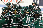 The Panthers celebrate their win. - The visiting Plymouth State University Panthers defeated the Wentworth Institute of Technology Leopards 2-1 on Monday, November 19, 2012, at Matthews Arena in Boston, Massachusetts.
