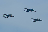 A trio of North American B-25 Mitchells fly toward the Washington Monument during the Arsenal of Democracy flyover. The B-25 Mitchell led the first retaliatory strike on Japan.