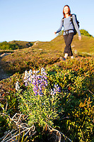 Stephanie Haynes hiking past lupine flowers on the Alpine Ridge trail in Kachemak Bay State Park, near Homer, Alaska.