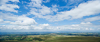 Scenic view from summit of Picws Du across landscape, Black Mountain, Brecon Beacons national park, Wales