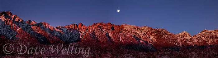 902000004 panoramic view of a full moon setting over mount whitney and the eastern sierras with the alabama hills in the foreground in kern county california