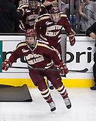 Destry Straight (BC - 17), Michael Sit (BC - 18) - The Boston College Eagles defeated the Harvard University Crimson 4-1 in the opening round of the 2013 Beanpot tournament on Monday, February 4, 2013, at TD Garden in Boston, Massachusetts.