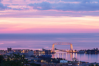 &quot;Aerial Lift Bridge Sunrise&quot;<br /> The sunrise was rich and full of texture over Lake Superior, until the rain clouds closed the curtain on the show.