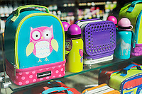 Back to school backpack promotion in the window of a store in New York on Saturday, August 8, 2015. The back to school shopping season is the second busiest time for retailers after Christmas.  (© Richard B. Levine)