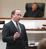 Defense attorney Peter Greenspun delivers his closing argument under the watchful eye of Prince William County (Virginia) Circuit Court judge LeRoy F. Millette, Jr., during the trial of sniper suspect John Allen Muhammad at the Virginia Beach Circuit Court in Virginia Beach, Virginia on November 13, 2003.<br /> Credit: Steve Earley - Pool via CNP