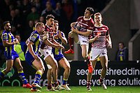 Picture by Alex Whitehead/SWpix.com - 09/03/2017 - Rugby League - Betfred Super League - Warrington Wolves v Wigan Warriors - Halliwell Jones Stadium, Warrington, England - Wigan's Morgan Escare catches the ball in the air.
