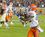 Florida running back Lamical Perine catches a pass in the Florida State red zone in the first quarter of an NCAA college football game in Tallahassee, Fla., Saturday, Nov. 26, 2016. (AP Photo/Mark Wallheiser)