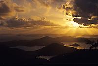 Sunrise from St John<br /> Looking down island<br /> U.S. Virgin Islands