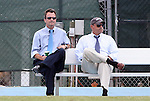 12 September 2009: UNC head coach Anson Dorrance (left) with assistant coach Bill Palladino. The University of North Carolina Tar Heels defeated the Texas A&M University Aggies 2-0 at Fetzer Field in Chapel Hill, North Carolina in an NCAA Division I Women's college soccer game.