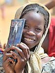 A girl in the Jabaleen displaced camp near Garsila, in Sudan's war-torn Darfur region.